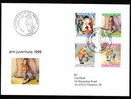 N 257) Schweiz 1999 Mi# 1701-04 FDC: Kinderbücher, U.a. Nicolo, Zelt, Gitarre - Musik