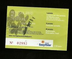 Biglietto Di Ingresso - Mercogliano Musical Festival 2011 ( Avellino ) - Concert Tickets