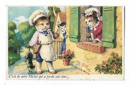 """Illustration Des  Chats  Humanisées  (pas  Signée  )  """"  C,est  La Mère  Michel  Qui  A  Perdu  Son  Chat  .....   """" - Katten"""