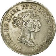 Monnaie, États Italiens, LUCCA, Felix And Elisa, 5 Franchi, 1808, Firenze, TTB - Regional Coins