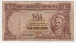 New Zealand 10 Shillings 1940-55 G-VG Banknote Pick 158a 158 A - Nieuw-Zeeland