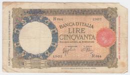 Italy 50 Lire 1940 VG Banknote Pick 54b 54 B - 50 Lire