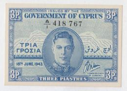 CYPRUS 3 Piastres 1943 UNC NEUF Pick 28 - Cyprus