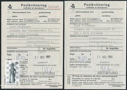 1983 Faroe Islands Strendur Thorshavn Postkvittering - Fredericia. Slania Chess 250 Ore - Féroé (Iles)