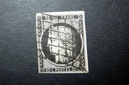 FRANCE 1849 N°3 OBL. GRILLE (CÉRÈS. IIÈME RÉPUBLIQUE. 20C NOIR SUR JAUNE. LÉGENDE REPUB FRANC. NON DENTELÉ) - 1849-1850 Cérès