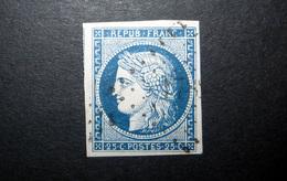 FRANCE 1850 N°4 OBL. (CÉRÈS. IIÈME RÉPUBLIQUE. 25C BLEU. LÉGENDE REPUB FRANC. NON DENTELÉ) - 1849-1850 Cérès