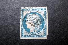 FRANCE 1850 N°4 OBL. GRILLE (CÉRÈS. IIÈME RÉPUBLIQUE. 25C BLEU. LÉGENDE REPUB FRANC. NON DENTELÉ) - 1849-1850 Cérès