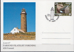 Norway Cancelled Postal Stationery Card - Lighthouses