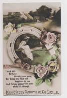 AI90 Greetings - Many Happy Returns - Horseshoe, Lady On Bench, Flowers, Cottage - Birthday