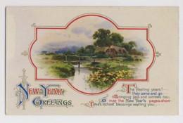AI90 Greetings - New Year Greetings - Stream, Bridge, Cottage - New Year