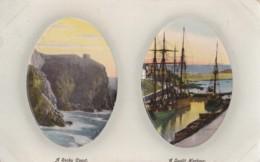 AP63 Oval Framed Postcard - 2 Views, A Rocky Coast, A Sunlit Harbour - Postcards