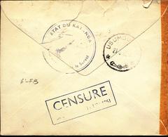 KATANGA COVER FROM E/VILLE 16.03.62 TO USUMBURA CENSORED - Katanga
