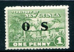New Guinea 1925-31 Officials - Huts - 1d Green VLHM (SG O22) - Papua New Guinea