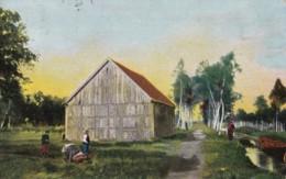 AQ50 Unidentified Scene - Canal, Barn - Postcards