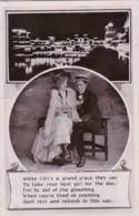 AO87 Romance - Couple Sitting On A Bench - 1908 RPPC - Couples