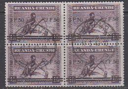 """Ruanda-Urundi 1941 """"Meulemans"""" Ovptd 2,50 On 1,50 Bl Of 4 Used (43979) Ca Usumbura - 1924-44: Afgestempeld"""
