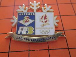116c  PIN'S PINS / Rare Et De Belle Qualité ! / Thème : JEUX OLYMPIQUES / ALBERTVILLE 92 ANTENNE 2 FR3 RADIODIFFUSEURS O - Jeux Olympiques