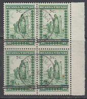 """Ruanda-Urundi 1941 """"Meulemans"""" 5c On 40c  Bl Of 4 Used (43983) Ca Usumbura - 1924-44: Afgestempeld"""
