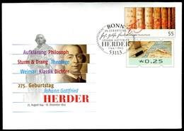 41397) BRD - USo ? - EVST OO Gestempelt 53113 BONN - 25 Unter 55C  Johann Gottfried Herder , Ausg.: 01.08.2019 - [7] Federal Republic