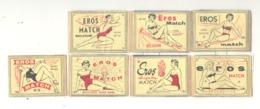 """Façade De Boite D'allumettes - Série """" EROS  Match Belgium """" 7 Pièces - Pin-up, Femme En Maillot,..(.rmt) - Boites D'allumettes - Etiquettes"""