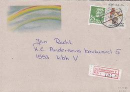 Denmark Registered Label KØBENHAVN V. Brotype Vd KØBENHAVN 4. (Sn.1) 1989 Cover Brief Volkstracht Valby Rainbow Cachet - Briefe U. Dokumente