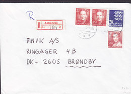 Denmark Registered Einschreiben Label AABENRAA Brotype IId 1990 Cover Brief BRØNDBY (Cz. Slania) - Briefe U. Dokumente