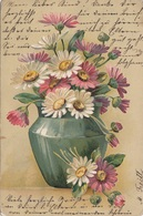 Prägekarte VASE Mit BLUMEN Sehr Schöne Künstlerkarte Gel.1905, Abgelöste Marke, Transportspuren - Feiern & Feste