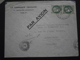 FRANCE TIMBRE CERES 375 LETTRE ENVELOPPE ENV COURRIER ALEXANDRIE EGYPTE CACHET CENSURE TARIF DESTINATION GUERRE AVION - Postmark Collection (Covers)