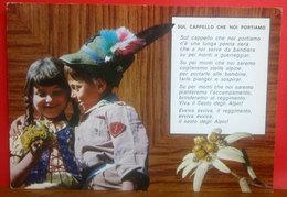 Alpino Coppia Bambini - Child Soldier  CARTOLINA Viaggiata 1990 - Umoristiche