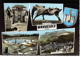 48 Marvejols N°15 En 1966 Bête Du Gévaudan Vue Générale Piscine Plongeoir Pub Dubonnet Derrière Henri IV - Marvejols