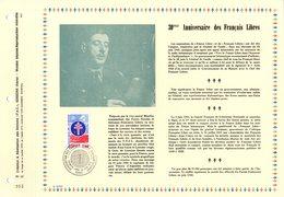 """"""" CHARLES DE GAULLE / 30 ANS DES FRANCAIS LIBRES """" Sur PAC 1er Jour De 1976 (1500 Ex.). N° YT 1885  Parfait état. FDC - De Gaulle (General)"""