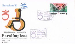 33674. Carta F.D.C. BARCELONA 1992. Juegos PARALIMPICOS. Olympic Games - 1931-Hoy: 2ª República - ... Juan Carlos I