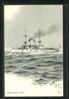 Künstler-AK Japan-Crucero, Fuji, Japanisches Kriegsschiff - Guerra