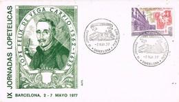 33676. Carta Exposicion BARCELONA 1977. Lope De Vega. Jornadas Lopetelicas - 1931-Hoy: 2ª República - ... Juan Carlos I