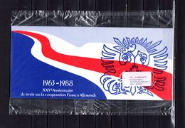 """(Prix à La Poste : 5.33 €) Emission Commune De 1988 SOUS BLISTER """" FRANCE / RFA : DE GAULLE """". 4 X N°YT 2501 + RFA  PPEC - De Gaulle (General)"""