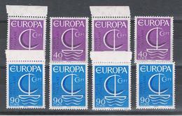 REPUBBLICA: 1966  EUROPA  CEPT  -   S. CPL. 2  VAL. N. -  RIPETUTA  4  VOLTE  -  SASS. 1029/30 - Europa-CEPT