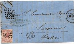 SH 0034. N° 20 LP 217/LIEGE S:LAC 1869 V. LIVOURNE (IT.). LP Répété En Haut - Dos Obl. Lacustre NATANTE COLICO-COMO - 1865-1866 Profilo Sinistro