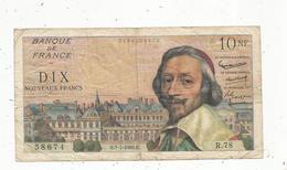 JC , Billet , 10 Nouveaux Francs , 10 NF , 5-5-1960 , Richelieu, 2 Scans - 1959-1966 Francos Nuevos