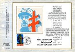 """"""" 5 ANS DU MEMORIAL CHARLES DE GAULLE """" Sur Feuillet CEF N°té En SOIE De 1977 N° YT 1941 Parfait état FDC - De Gaulle (General)"""