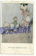 """Petite Fille, Poupée, Chiot. Lutin, Maison Champignon """"only House To Left"""". Signée Mabel Lucie Attwell - Attwell, M. L."""