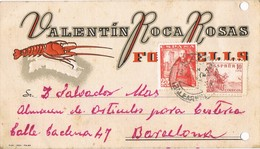 33381. Tarjeta Privada FORNELLS (Baleares) 1949. Langosta. Fechador De MAHON - 1931-Aujourd'hui: II. République - ....Juan Carlos I