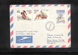 Poland / Polska 1989 Lot Erstflug Warschau - New York - 1944-.... Republik