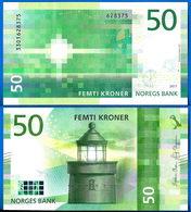 Norvege 50 Couronnes 2017 Neuf UNC Norway Kroner Que Prix + Port Lighthouse Phare Banknote Paypal Bitcoin OK - Norwegen