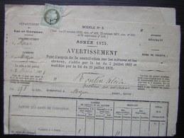 1 Centime Vert Olive N°50 Seul Sur Document De 1875 Impôt Pour Alcide Rontin à Mezin, Lot Et Garonne - Marcophilie (Lettres)