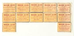 Façade De Boîte D'allumettes - Lot De 12 - Maison JULIEN , Vins, Liqueurs Bruxelles - Maxime Humouristique, Alcool,(rmt) - Boites D'allumettes - Etiquettes
