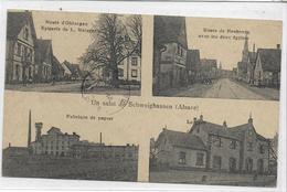 67 SCHWEIGHAUSEN . Un Salut En 4 Clichés , épicerie Metzger , 2 églises , Gare  , édit : L Schlegel , écrite, état Extra - Francia
