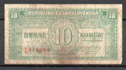 329-Tchécoslovaquie Billet De 10 Korun 1945 YX313 - Checoslovaquia