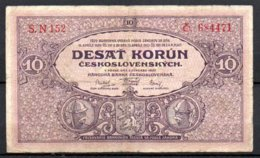 329-Tchécoslovaquie Billet De 10 Korun 1927 SN152 - Tsjechoslowakije