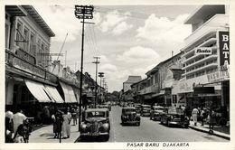 Indonesia, JAVA JAKARTA, Pasar Baru, Cars (1950s) RPPC Postcard - Indonesia