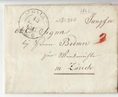 3759 HELVETIA  ST. GALLEN TO ZURICH 1835 WITH TEXT - ...-1845 Prephilately